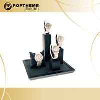 Luxury matted watch display stand with black C-ring