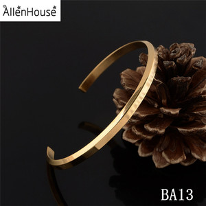 Wholesale Gold Plated Engraved Metal Blank Cuff Mens Womens 316L Stainless Steel Bracelet Bangle