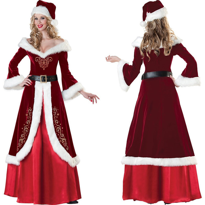 Snow Queen Red Costume Women Exotic Dress Christmas Santa Outfit