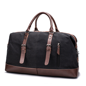 Men's vintage retro canvas trim large capacity weekender holdall duffle duffel travel overnight bag