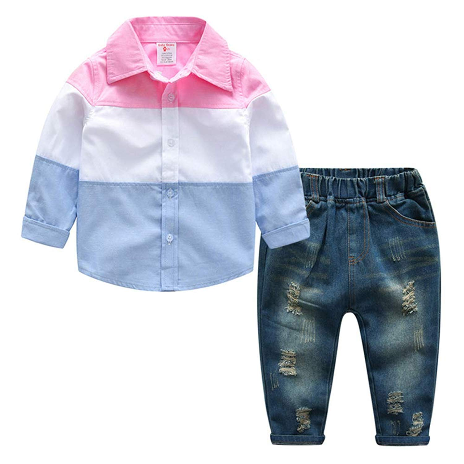 Get Quotations · Fairy Baby Toddler Baby Boys 2pcs Clothes Outfit Long  Sleeve Shirt+Hole Denim Pant Set e12c64ed0