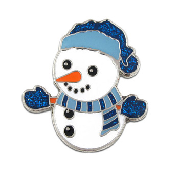 China online maker selling your own designs cute metal christmas snowman badges