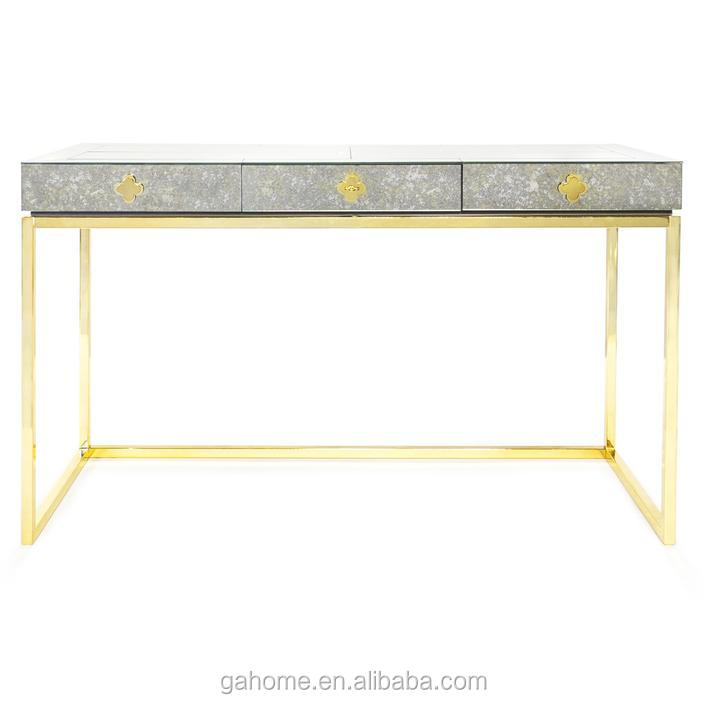 Accent stylish antique mirror Console Table with golden stainless steel legs