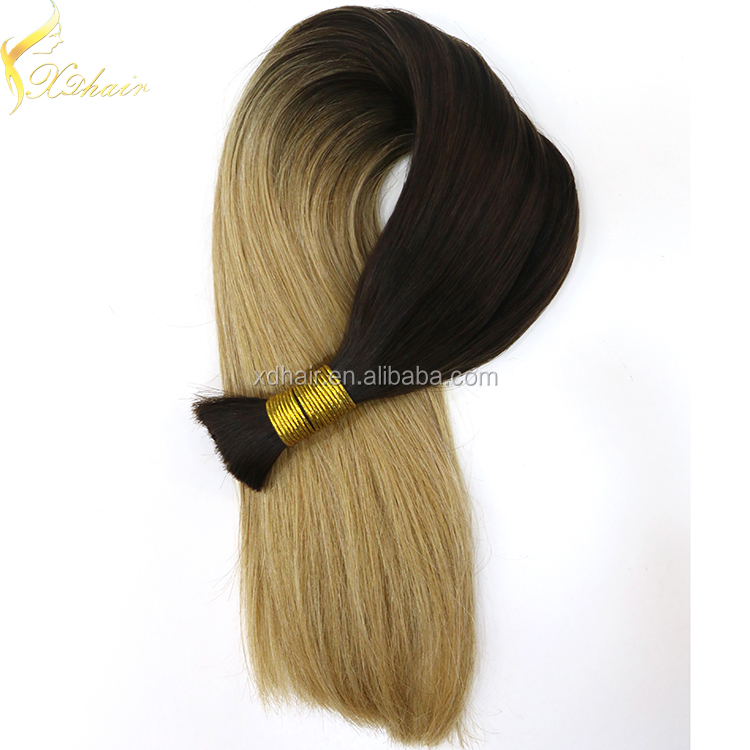 2016 double drawn ombre brazilian tangle free bulk hair for wig making