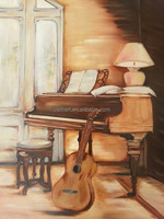 Most Popular Living Room High Quality Decoration Handmade Piano Canvas Painting Abstract Modern Musical Instrument Oil Painting