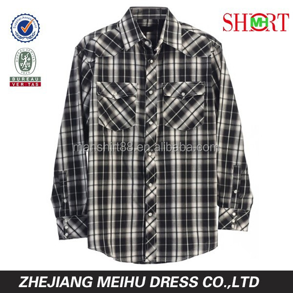 Duurde Mens Casual Western Plaid Gecontroleerd Parel Snap Shirt