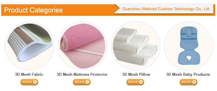 Wellcool OEM washable 3d spacer mesh pillow,air conditioning pillow,3d mesh pillow