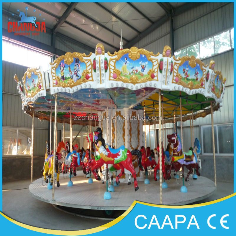 Double-deck merry go round for sale/double-deck 3 seats kiddie ride carousel used amusement playground