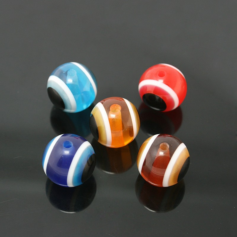 Wholesale 15mm Round Assorted Colors Stripe Resin Evil Eye Beads for Jewelry Making DH-BSB017-99