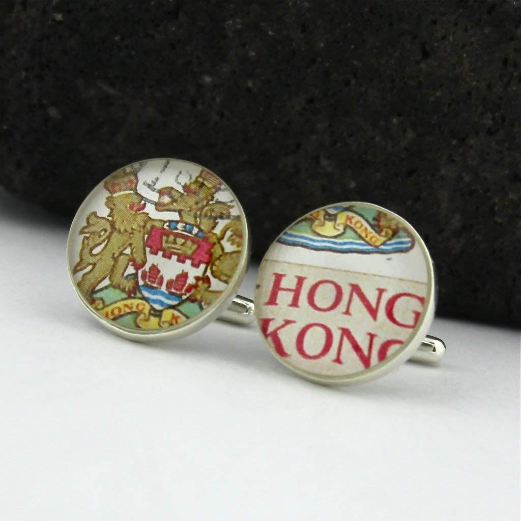 Hong Kong Crest Cufflinks - Vintage Hong Kong Postage Stamp Sterling Silver Handmade Cufflinks (Cuff Links)