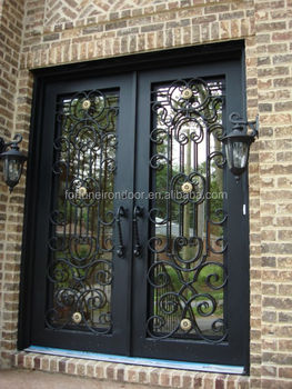New Luxury Moden Wrought Iron Doors With Sidelight Made With Beautiful  Grill Design. Used For