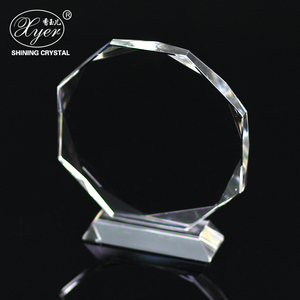 New style round shape custom crystal plaque award trophy crystal with crystal base