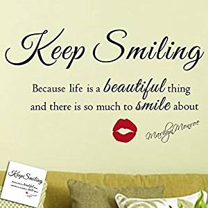Get Quotations  C2 B7 Wall Decal Decor Marilyn Monroe Wall Decal Keep Smiling Wall Stickers Beautiful Wall Quote Vinyl