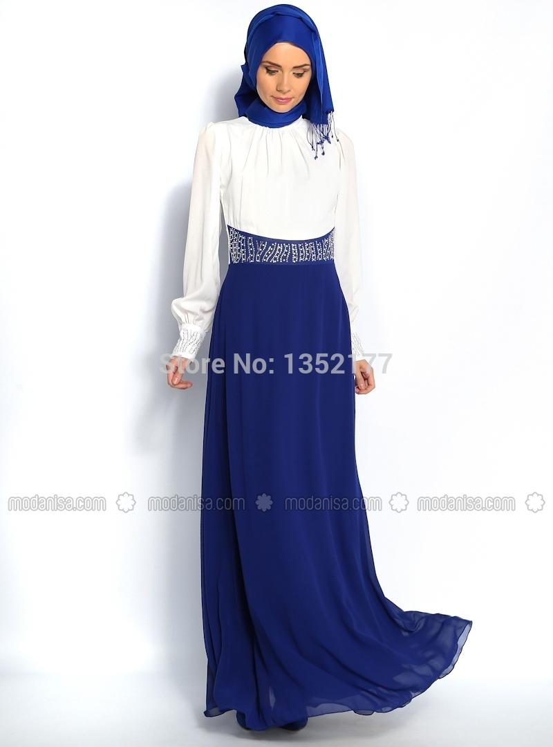 Get Quotations · Hot 2015 A-line High Collar Long Sleeves Blue Hijab  Underscarf Dubai Moroccan Kaftan Muslim 95e6576aaba6