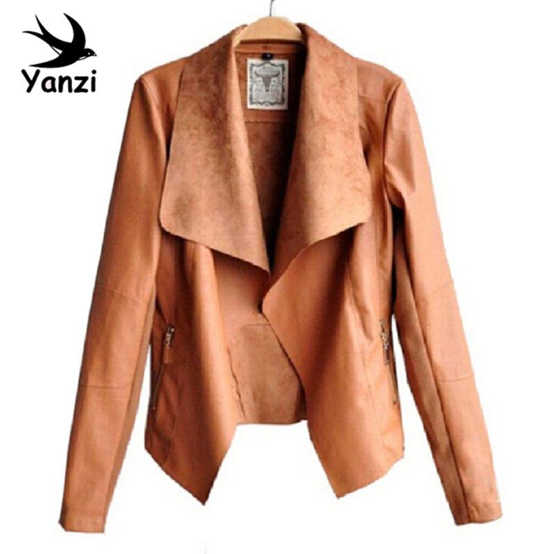 Длинный рукав полиуретан кожа куртка искусственного отложным вниз Collor кожа куртки женщины приталенный пальто Feminino S-4XL h21