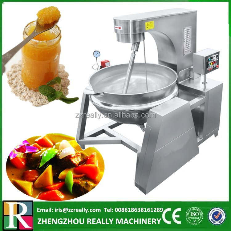 PLC control double jacketed 200L industrial cooking pot with mixer for curry