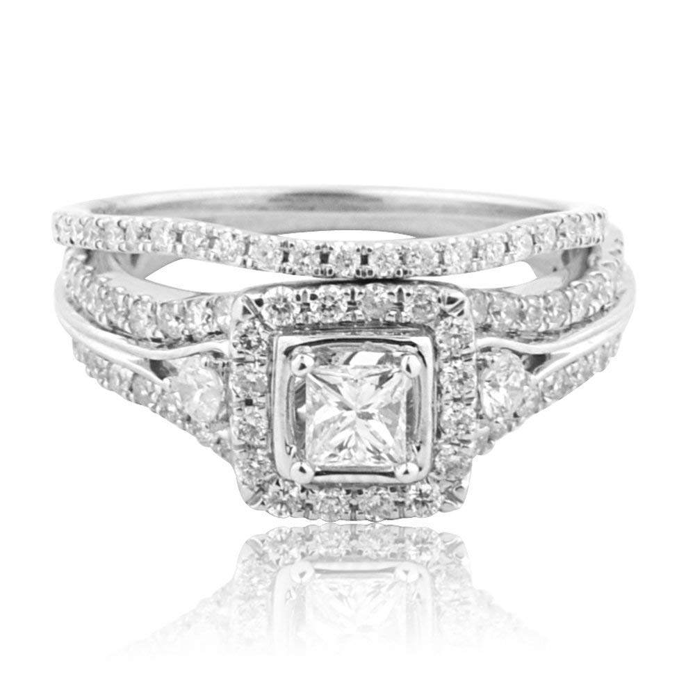 Midwest Jewellery 14K White Gold Wedding Ring Vintage Princess Cut Diamond Solitaire 9mm Wide 2pc Set 0.99cttw(i2/i3, i/j)