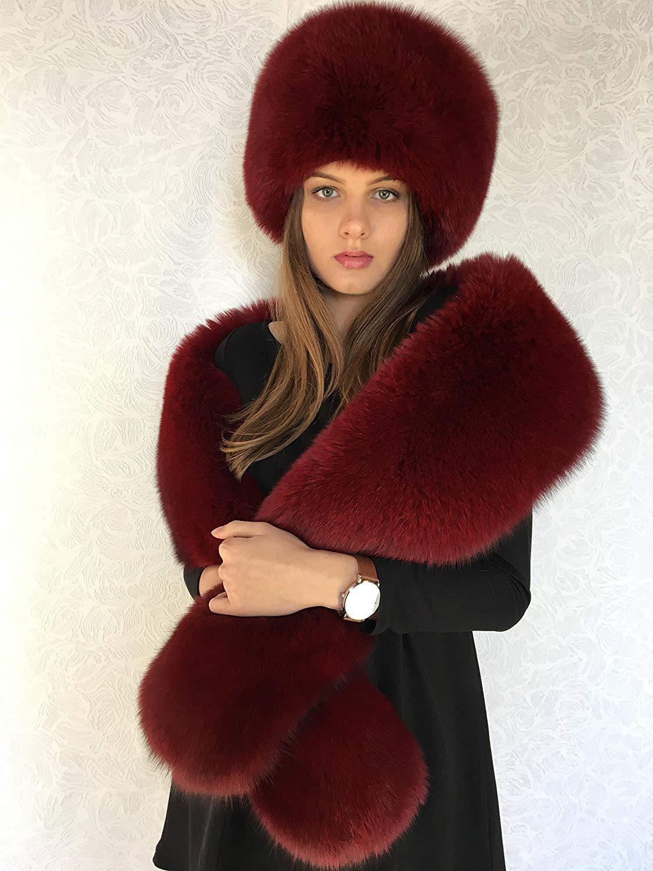 1f356c06 Get Quotations · Blue Fox Fur Stole 70' and Full Fur Hat Set Saga Furs Dark  Red