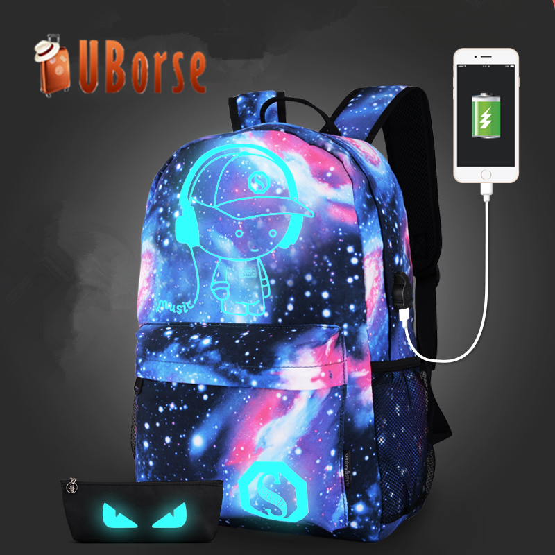 2017 best selling student wholesale fluorescent night shining hiking travel bag school usb backpack