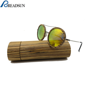 Custom logo unisex natural wood round polarized sun glasses sunglasses