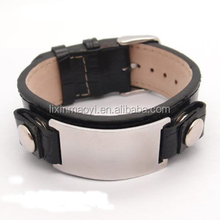 Customized Fashion Stainless Steel Blank Stopper Plain Leather Bangle For Men