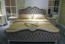 USA style antique elegant bed for adult double soft high headboard beds