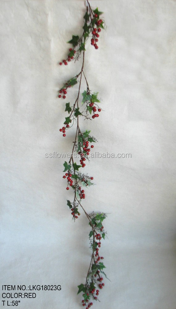 "Hot Sale Artificial Christmas Flower Berry Garland with Morning Glory Leaves ornament 58"" for home christmas decoration"