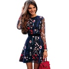 MANULENA Sexy Women Floral Embroidery Dress Sheer Mesh Summer Boho Mini A-line Dress See-through Black Dress