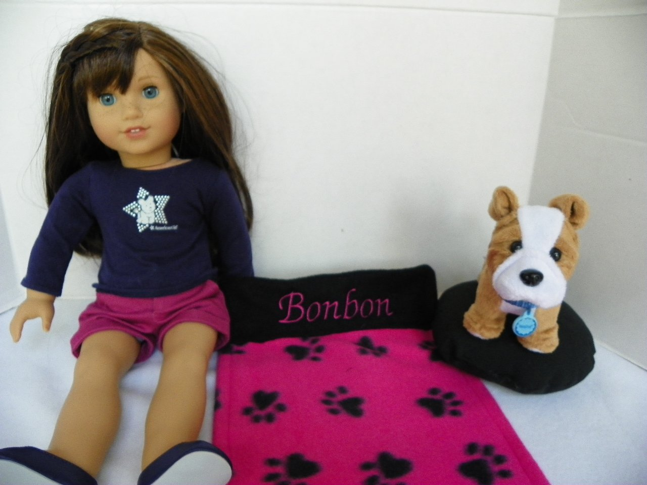 American Girl Doll Pet Dog BONBON: Personalized Paw Print Design Blanket