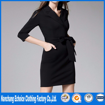 Black Office Dress Women Winter And Autumn Ladies Business Formal
