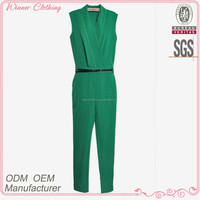 Fashion design sleeveless green colour new Style Jumpsuits for tall women