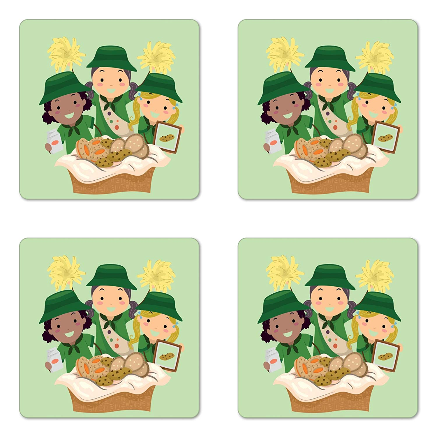 Lunarable Girl Scouts Coaster Set of Four, Illustration of Girls with Uniforms Selling Various Cookies Fundraiser Event, Square Hardboard Gloss Coasters for Drinks, Multicolor