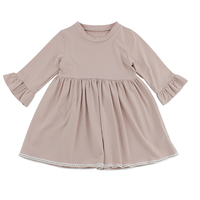 New Style Cute Pattern Ruffle Design Soft Cotton O Neck Pink Dress Puff Sleeve Frock
