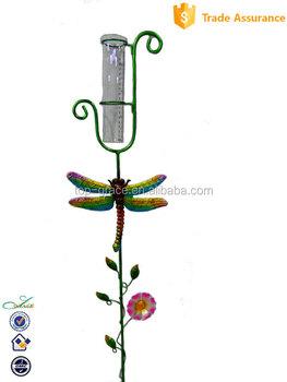 Decorative Iron Metal Dragonfly Garden Stake With Glass Rain Gauge