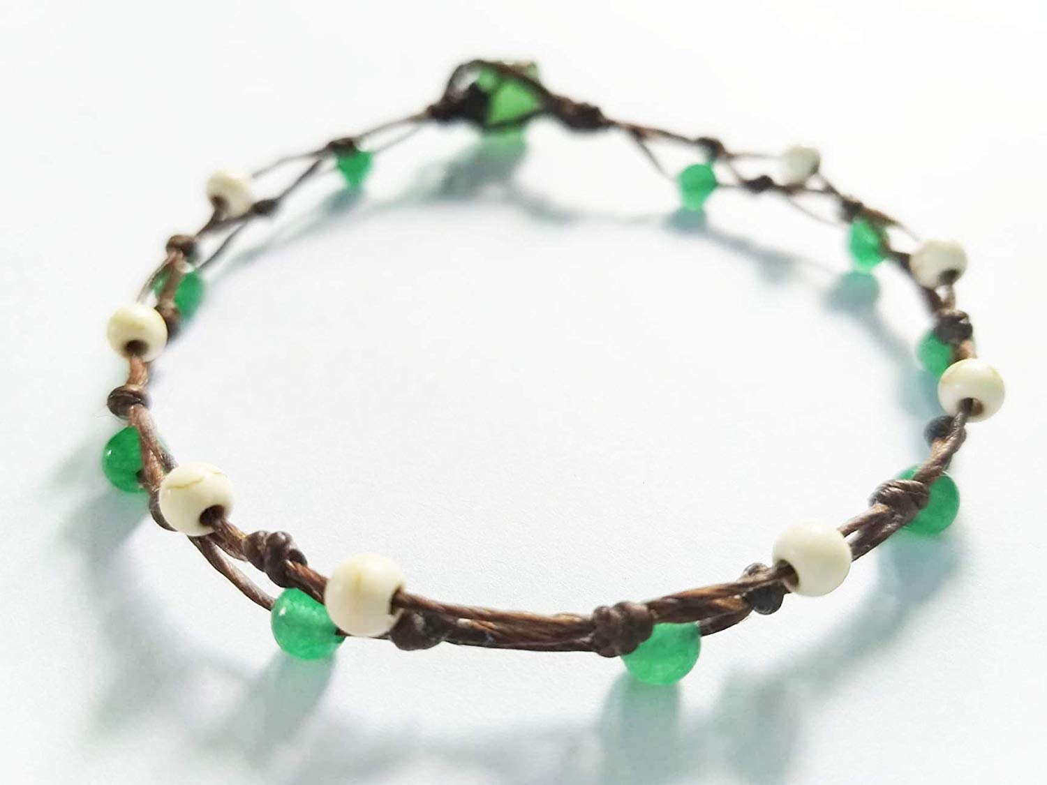 Anklet,Howlite stone anklets,Green jade stone anklets,Suitable for women as a gift for the heart. Or use it as a fashion.