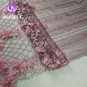 High quality 3d flower beaded lace fabric for dresses