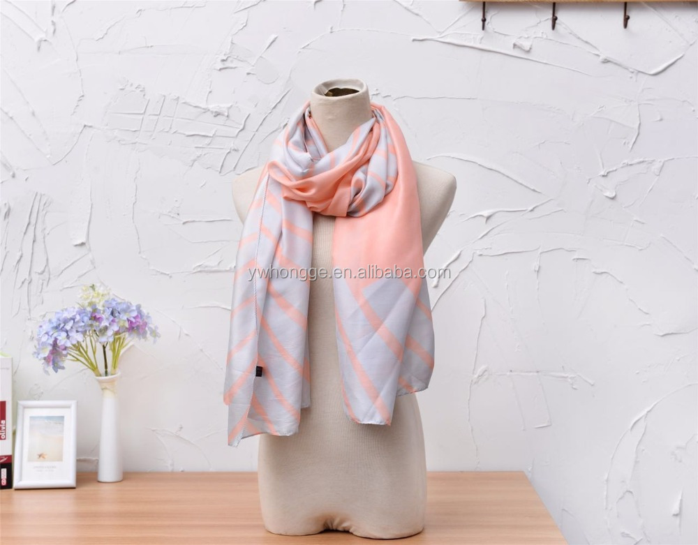 Fashion lady polyester chiffon silk scarf customized print silk scarf