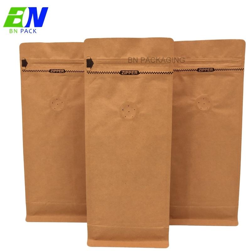 500 กรัม 1 กิโลกรัมกระดาษคราฟท์บล็อกถุงกาแฟด้านล่างบรรจุภัณฑ์ที่มีวาล์ว degassing