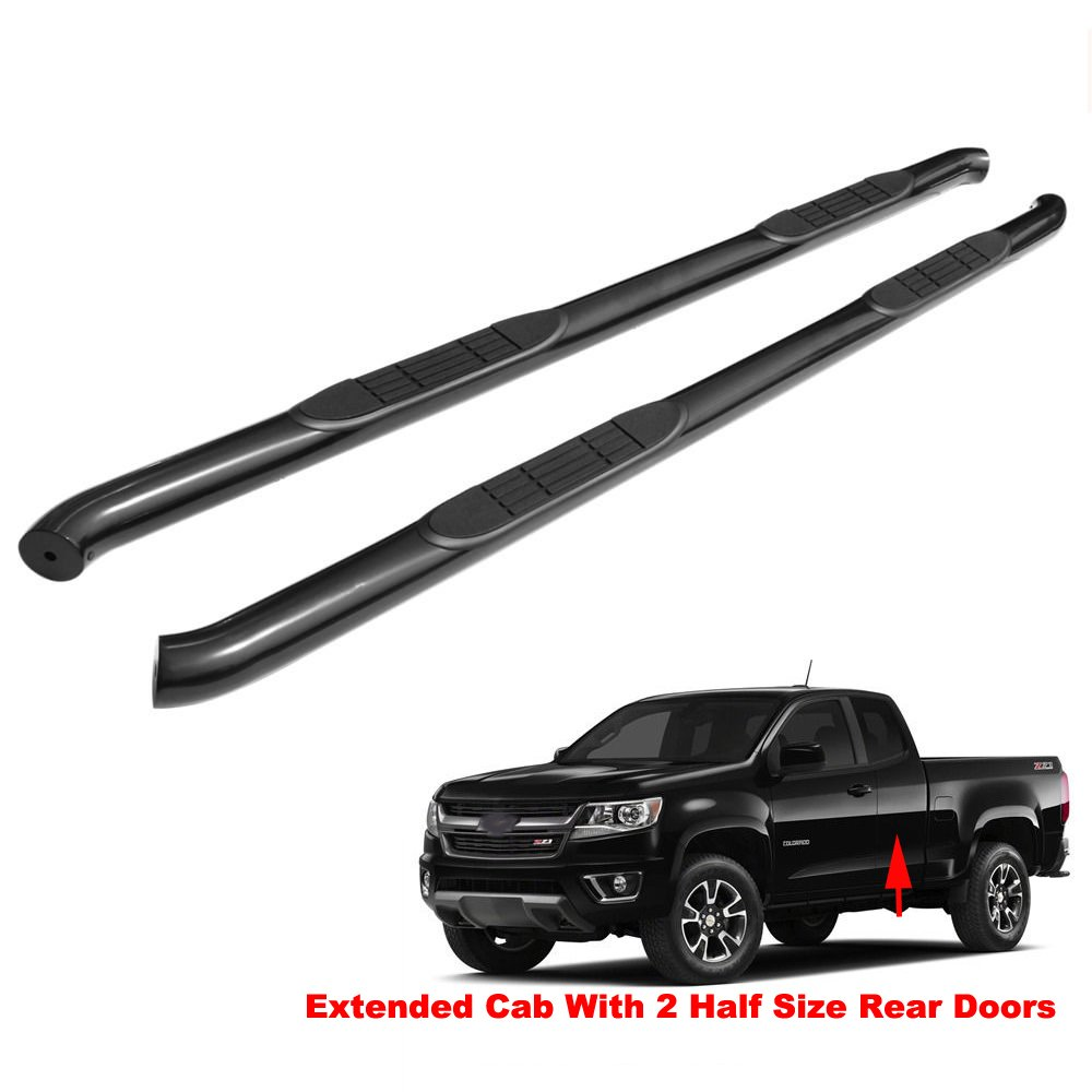 For 2004-2013 Colorado Canyon Crew Cab Step Rail Running Boards Nerf Bars Black