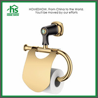 Wall Hanging Gold Plated Brass Bathroom Toilet Paper Holder Stand