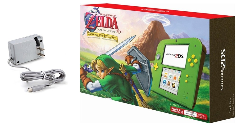 Nintendo 2DS Bundle (2 Items): Nintendo 2DS with the Legend of Zelda Ocarina of Time 3D - Link Edition and Tomee AC adapter