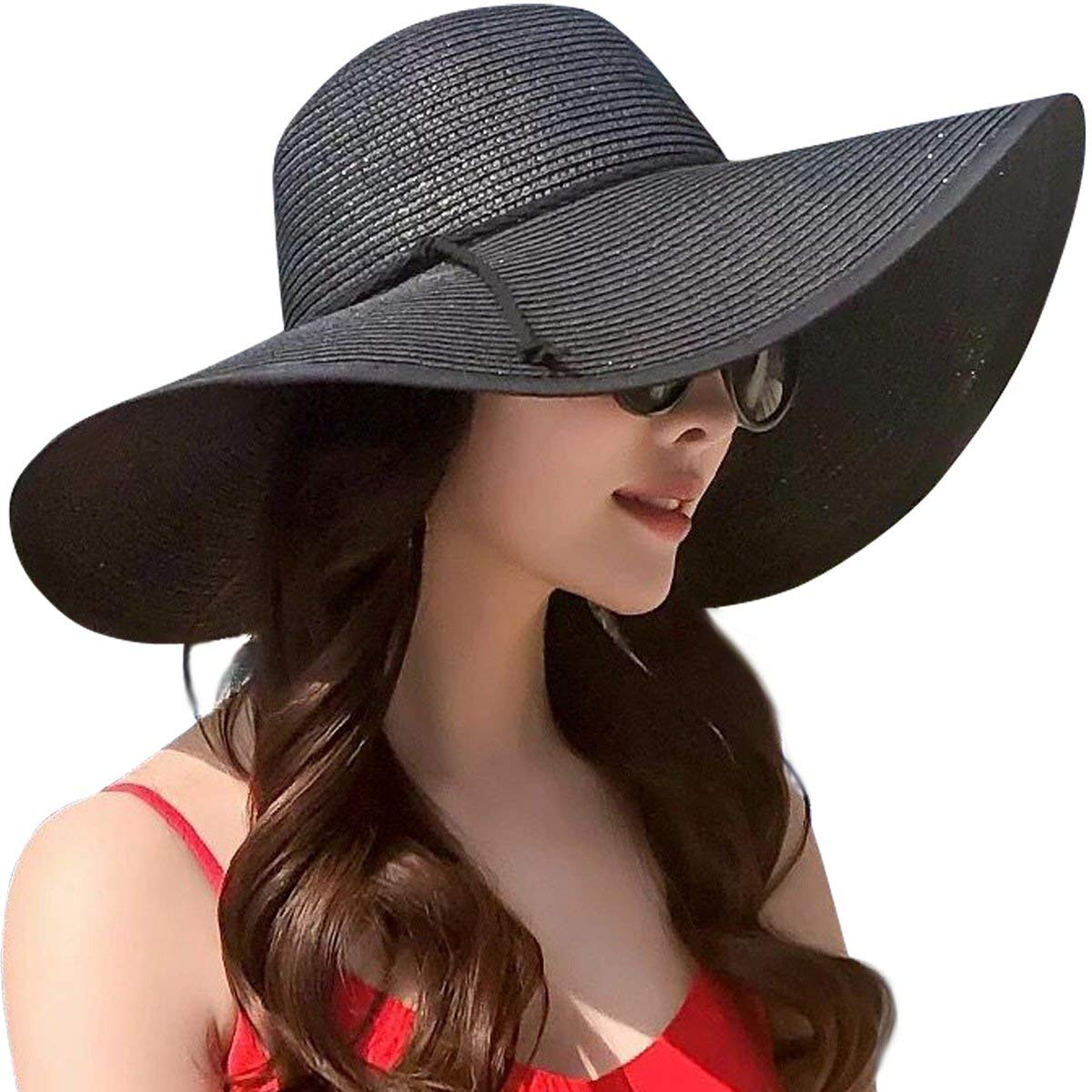 b6ed443a9e1 Get Quotations · Lanzom Womens Wide Brim Straw Hat Floppy Foldable Roll up  Cap Beach Sun Hat UPF 50