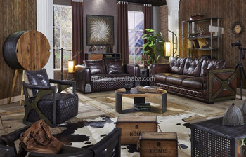 American Country Style Leather Couch Set Genuine Antique Sectional Sofa For Home
