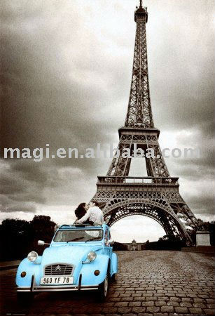 Paris Eiffel Tower Oil Painting With Blue Car