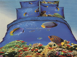 beautiful painting quilt duvet cover 3d ocean undersea view printed 100% cotton bedding set