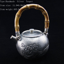 464g Antique Chinese Style Ag999 Sterling Silver Tea Pot Set For Sale