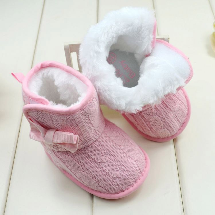 M/&A Infant Baby PU Leather Snow Boots Anti-slip Warm Shoes Prewalker