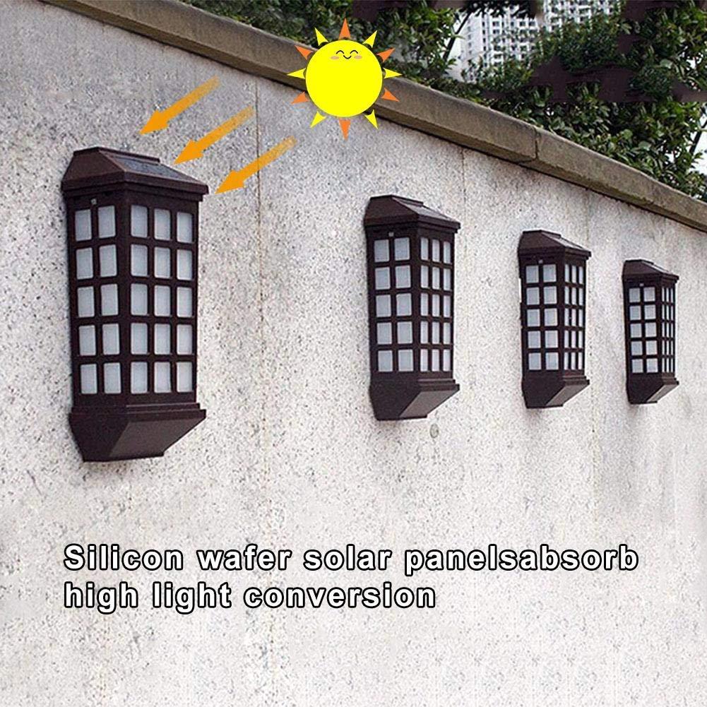 Corridor Lights Solar Energy, perfectshow Solar Outdoor sconces Wall Lighting Light Waterproof led Light Fixture for Garden Courtyard Villa Fence Stair