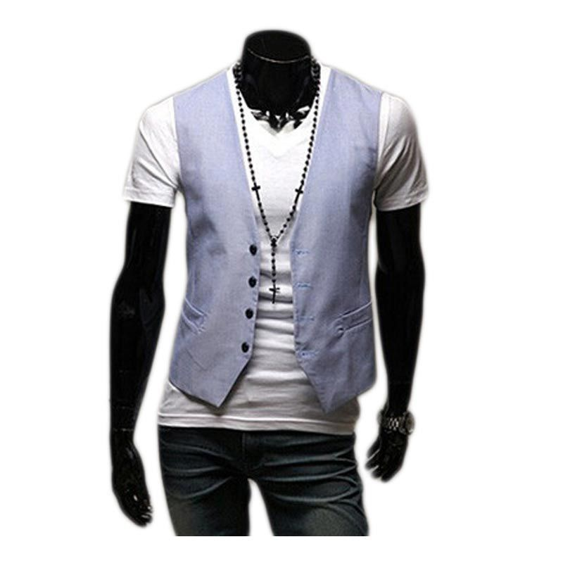 2015 New Spring Fashion Mens Candy Color Slim Vest Jacket Korean Style Casual Dress Vests Blazer Mens Waistcoat 2Xl