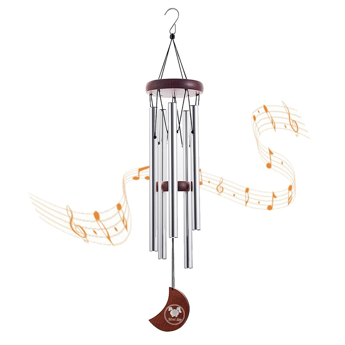 MINILOP Wooden Moon Wind Chime Outdoor,23 Inch Beautiful Large Music WindChimes with 5 Hollow Aluminum Metal S Hook Tubes Tuned for Garden,Patio,Balcony Decor